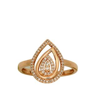 <p> 9ct Rose Gold Diamond Tear Drop Ring. Total Diamond Weight 0.1625ct</p>