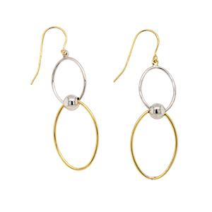 9 Carat Yellow Gold and Sterling Silver Earrings