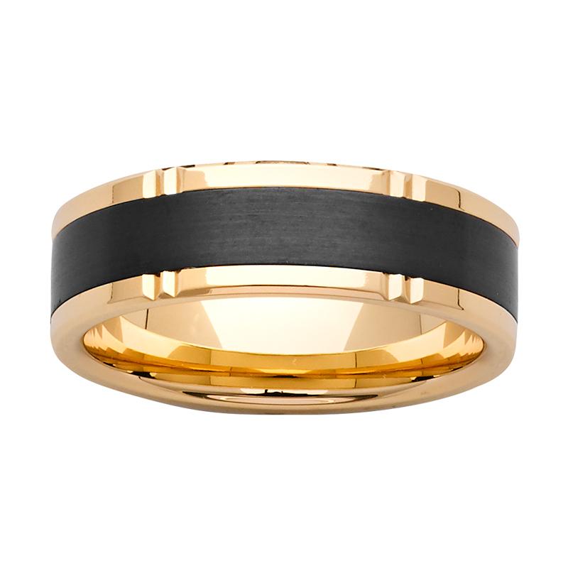 7mm Gold & Black Zirconium Ring