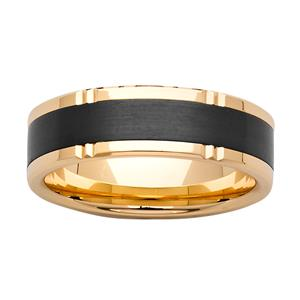7mm Gold & Black Zirconium Ring