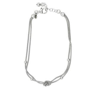 Rhodium Plated Sterling Silver Tied Knot Bracelet