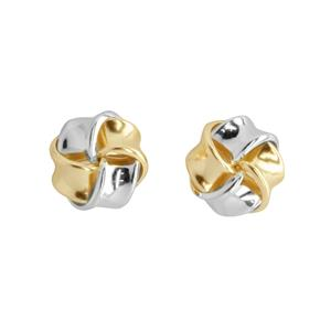<p>Silver and 9 carat yellow gold knot earrings</p>