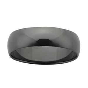 7mm wide half round Black Zirconium band with polished finish.