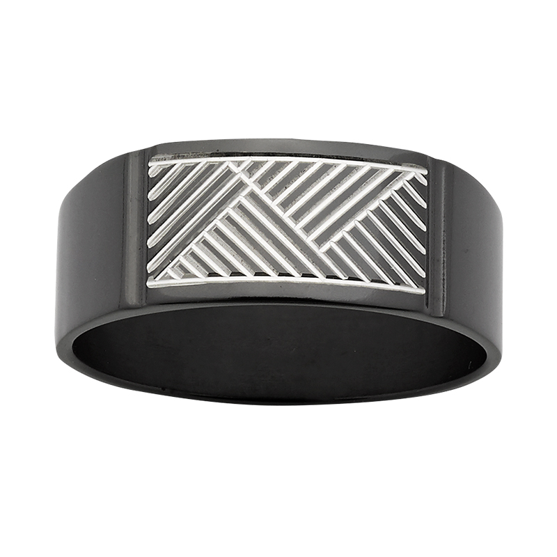 ZiRO Black & White Signet Ring