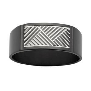 ZiRO Black & White Signet Ring