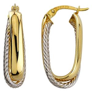 9ct Yellow & White Gold, Silver Bonded Hoop Earrings