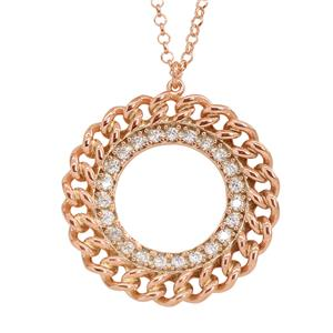 Rose gold plated Cubic Zirconia Pendant with Chain