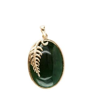<p>Greenstone oval pendant with fern</p>