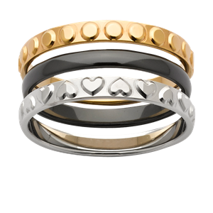 <p>Stacker rings available in white gold, zirconium and yellow gold.</p>