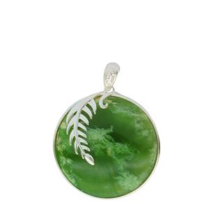 <p>Flower jade pendant available in sterling silver and 9 carat gold.</p>