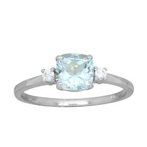 <p> 9 Carat White Gold Ring with Aquamarine and Diamonds</p>