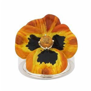 <p>ENAMEL FLOWER RING.5MM CITRINE</p>