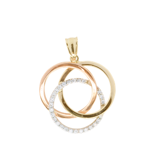 <p>9ct tri gold Interlocking Circles Pendant set with Cubic Zirconia</p>