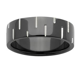 7mm patterned black zirconium ring