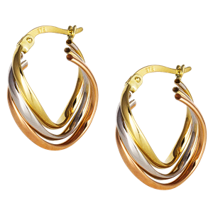 <p>9ct tri gold Hoop Earrings</p>