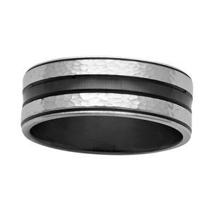 <p>8mm black and white Zirconium ring</p>