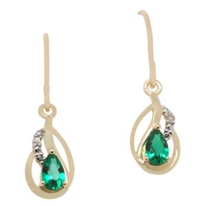 Diamond and Created Emerald Earrings in 9ct Yellow Gold