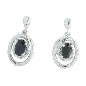 <p>9ct White Gold Sapphire & Diamond Earrings. Total Diamond Weight 0.03ct</p>