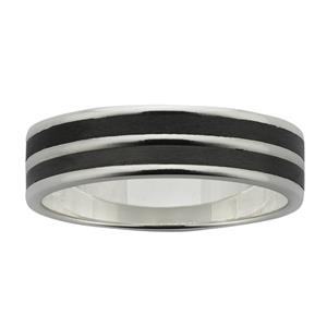 6mm wide polished Sterling Silver band with two sanded Black Zirconium inlays.