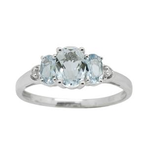 <p> 9 Carat White Gold with Aquamarine and Diamond</p>