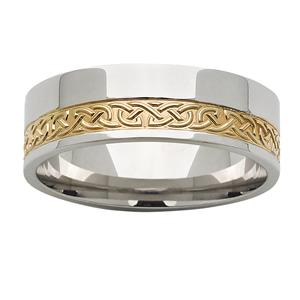 <p>7mm White & Yellow Gold Celtic Patterned ring</p>