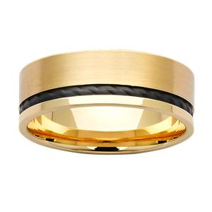 <p>Black zirconium and gold band</p>