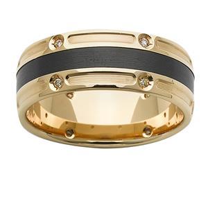 7mm Gold & Diamond Zirconium Ring