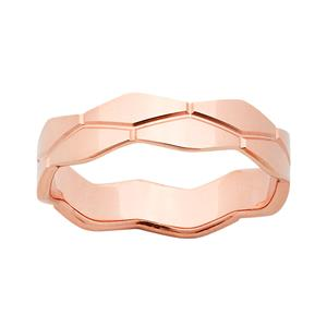 <p>9ct Rose Gold 5mm Patterned Polished Stacker Ring</p>