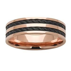 Rose Gold base with rope effect black zirconium inlays