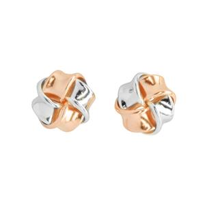 <p>Silver and 9 carat rose gold knot earrings</p>