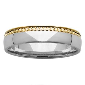 <p>5mm Yellow and White Gold Polished Ring</p>