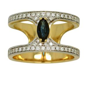 <p>Split Shank Yellow Gold Marquise Sapphire and Diamond Ring. Total Diamond Weight 0.43ct</p>