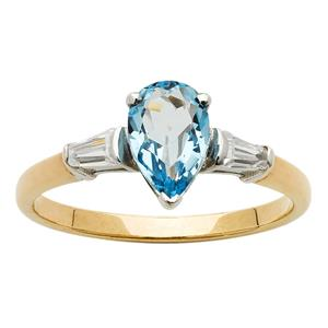 <p>Pear Topaz Ring with Tapered Baguettes</p>