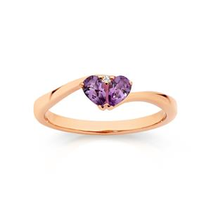 <p>Amethyst & Diamond Heart Ring</p>