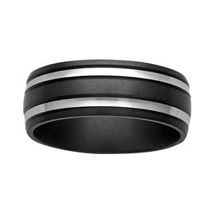 <p>8mm black and white Zirconium ring</p>