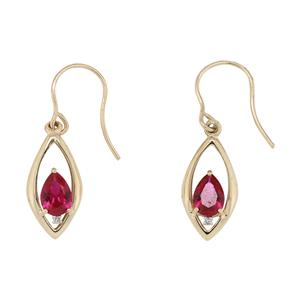 9ct Yellow Gold Created Ruby & Diamond Drop Earrings on Shephers Hook