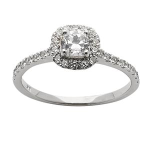 <p>Cushion Cut Halo Diamond Ring</p>