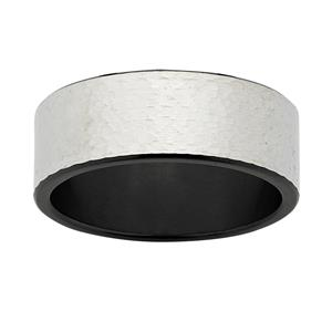 Black & White ZiRO Ring - Tree Bark Etch