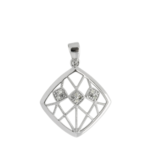 <p>9ct white gold Square Diamond Pendant</p>
