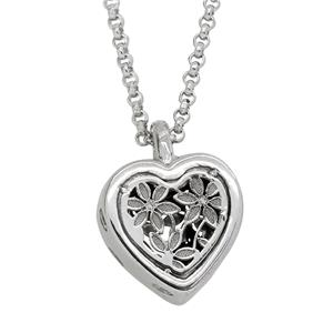 Sterling Silver Filigree Flower and Heart Cubic Zirconia Pendant with Chain