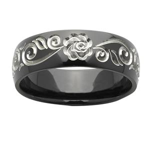 Floral engraved Black Zirconum ring