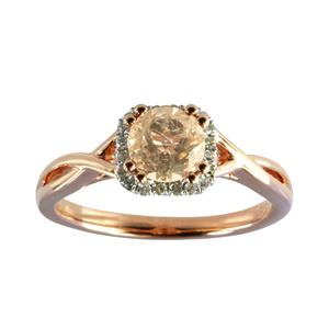 <p> Rose Gold Ring with Morganite and Diamonds</p>