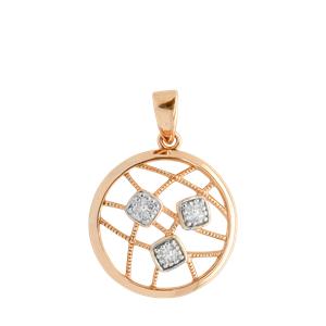 <p>9ct rose gold Circle Diamond Pendant with rhodium plated settings</p>
