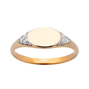 <p> Horizontal Oval Diamond Signet Ring</p>