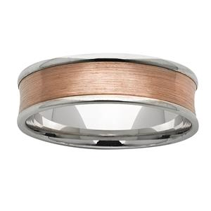 <p>7mm White Gold Ring with a Concaved sanded Rose Gold centre</p>