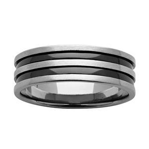 7mm Black & White Zirconium Ring
