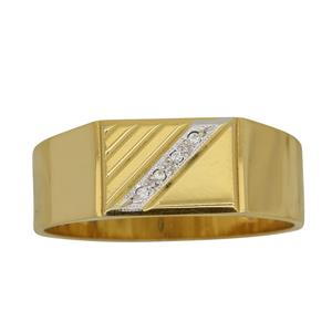 <p>Yellow Gold Flat Top Diamond Signet Ring Total Diamond Weight 0.02ct</p>