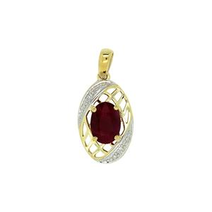 <p> 9 Carat Yellow Gold Pendant with Ruby and Diamonds</p>