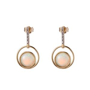 9ct Yellow Gold Opal & Diamond Earrings