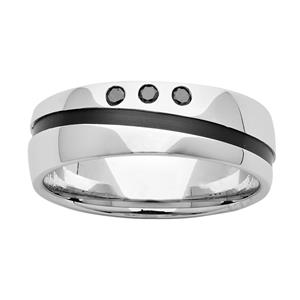 7mm Sterling Silver & Black Zirconium Ring with Diamonds